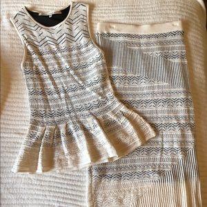 Rachel Roy white crochet line skirt and top